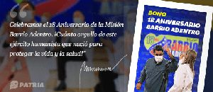 Gobierno Bolivariano entrega Bono 18 Aniversario Barrio Adentro